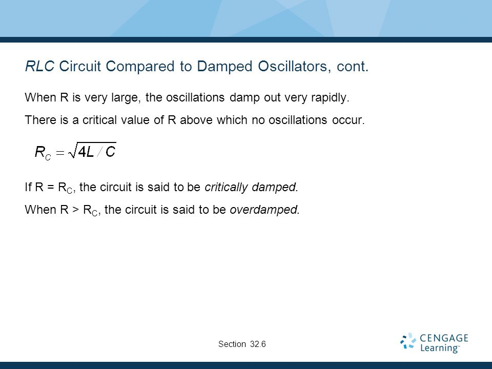 RLC Circuit Compared to Damped Oscillators, cont.