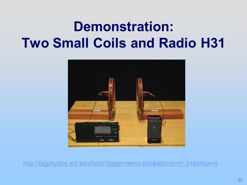 Demonstration: Two Small Coils and Radio H31