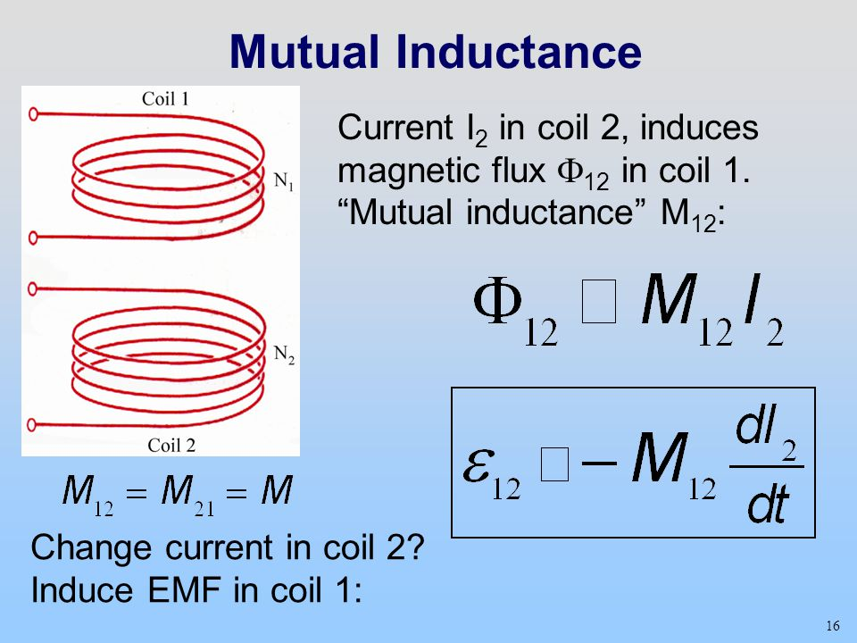 Mutual Inductance Current I2 in coil 2, induces magnetic flux F12 in coil 1. Mutual inductance M12: