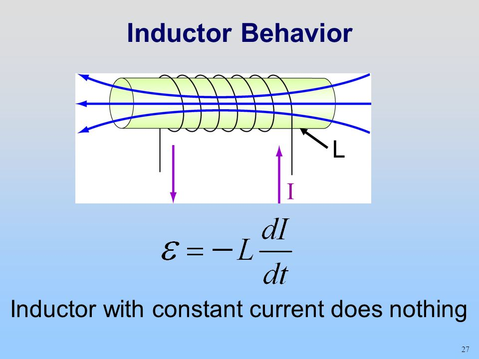 Inductor Behavior L I Inductor with constant current does nothing