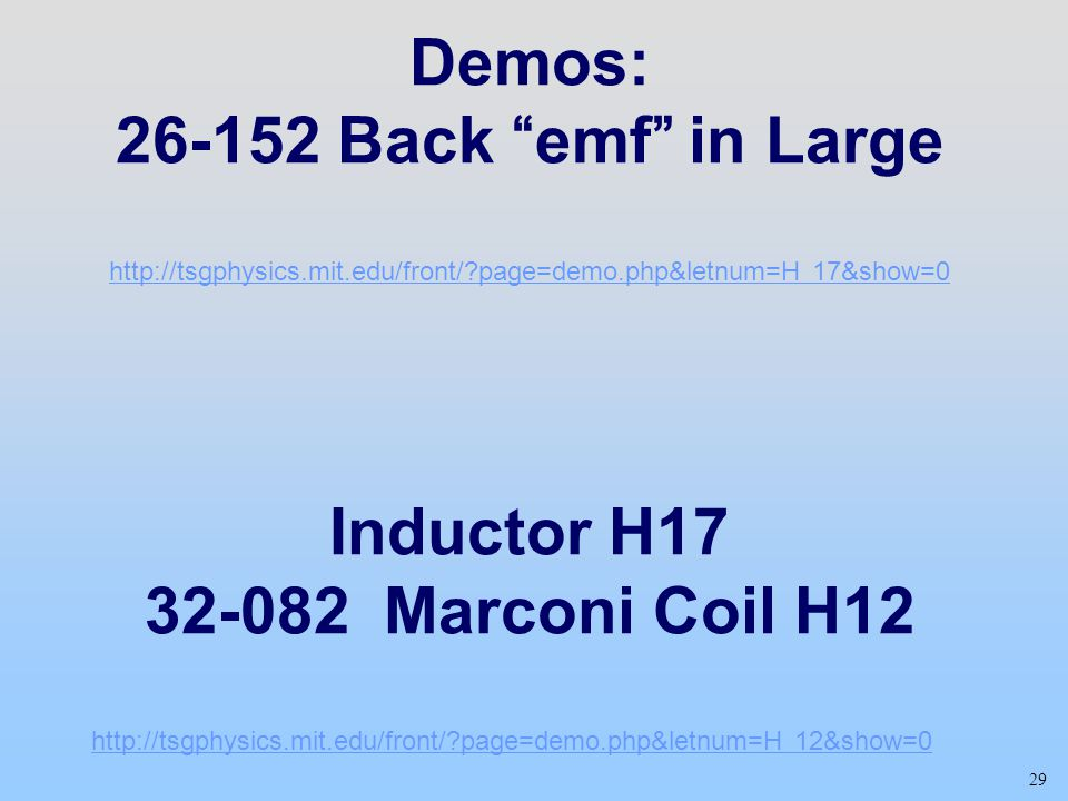 Demos: Back emf in Large Inductor H Marconi Coil H12