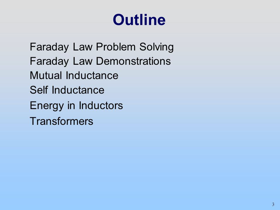Outline Faraday Law Problem Solving Faraday Law Demonstrations