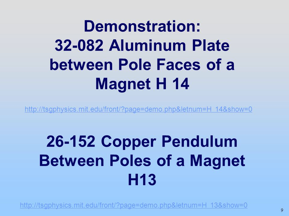 Demonstration: Aluminum Plate between Pole Faces of a Magnet H Copper Pendulum Between Poles of a Magnet H13