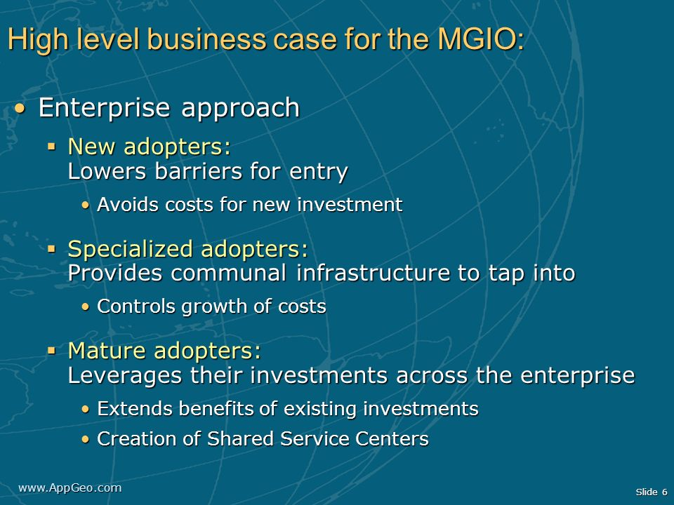 High level business case for the MGIO:
