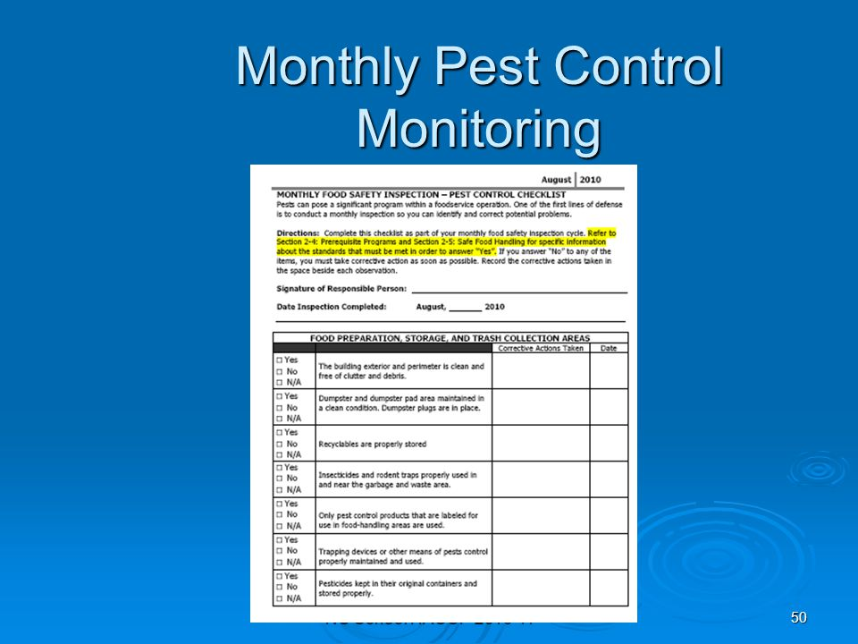 monthly pest control monitoring