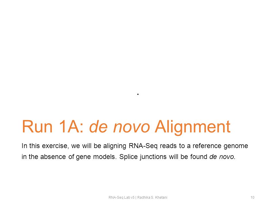 Run 1A: de novo Alignment