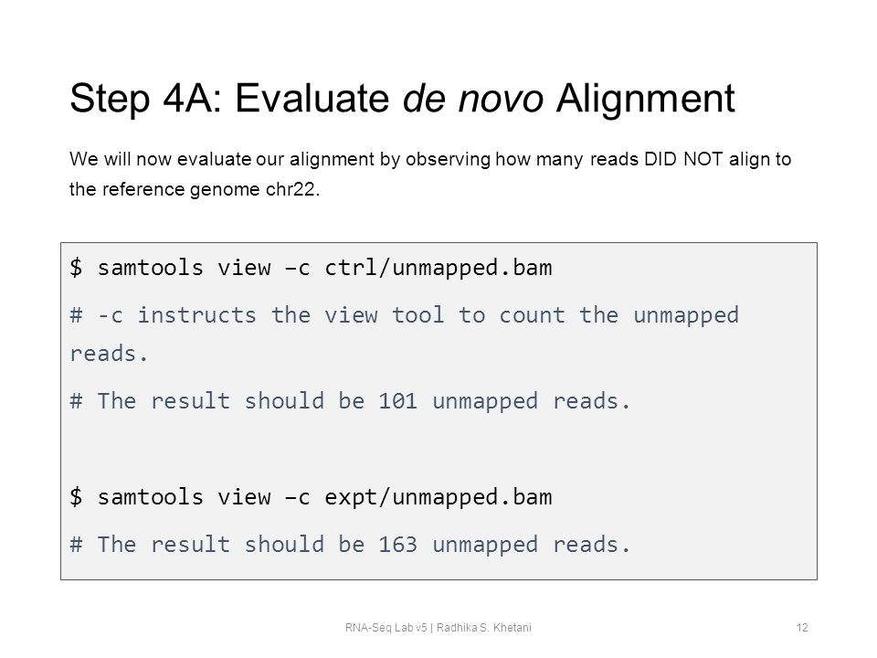 Step 4A: Evaluate de novo Alignment