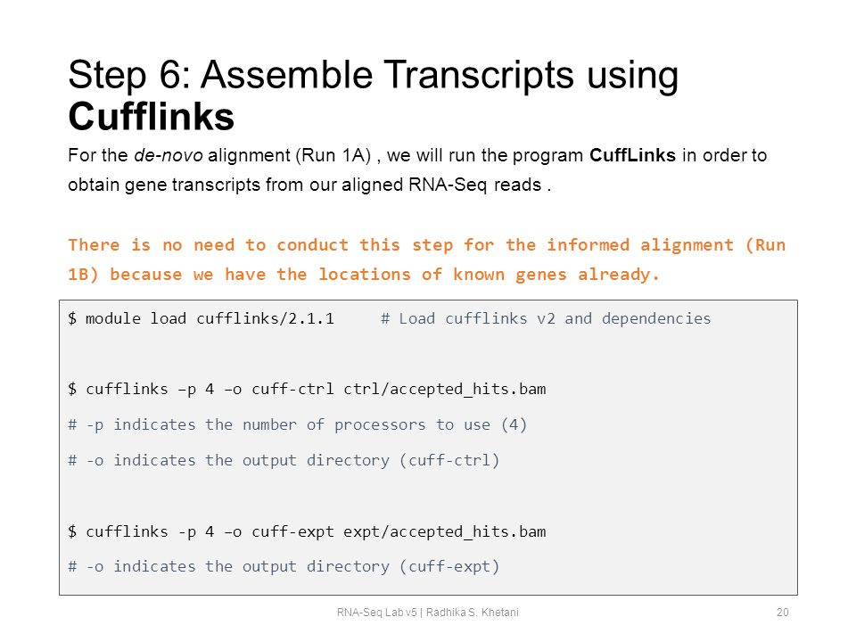 Step 6: Assemble Transcripts using Cufflinks