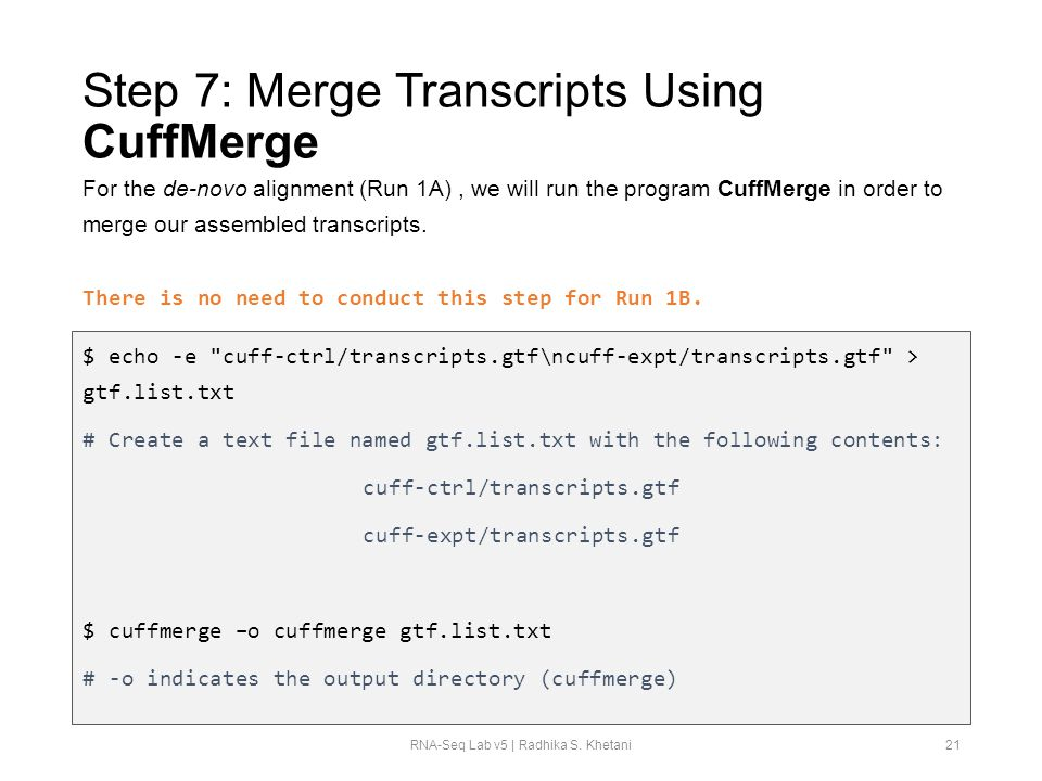 Step 7: Merge Transcripts Using CuffMerge