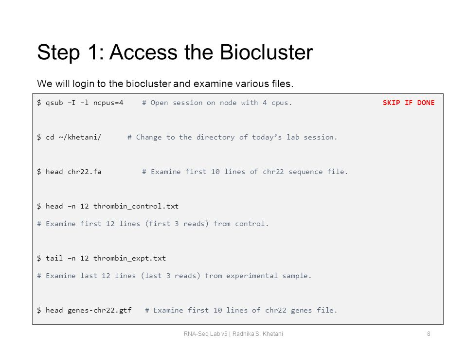 Step 1: Access the Biocluster
