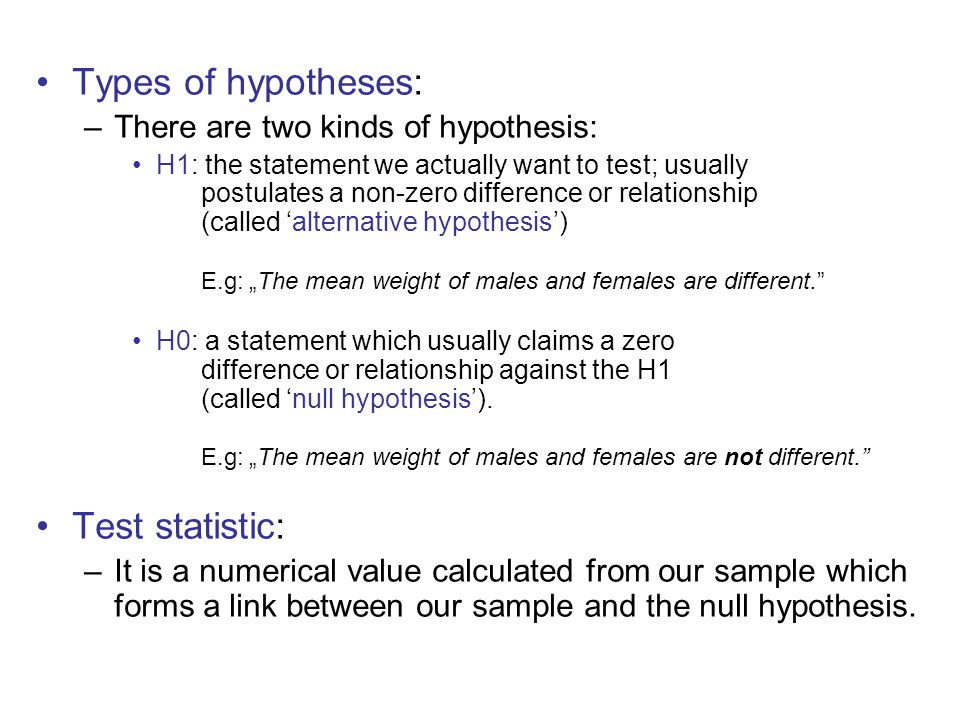 Types of hypotheses: Test statistic: