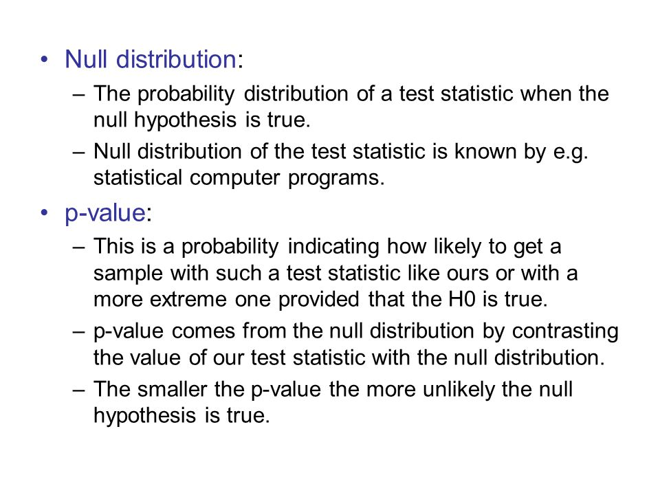 Null distribution: p-value: