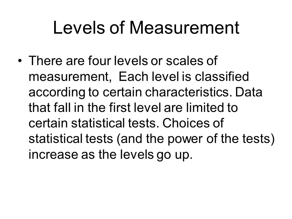 Levels of Measurement