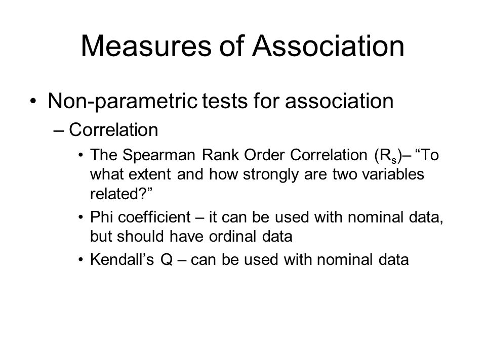 Measures of Association
