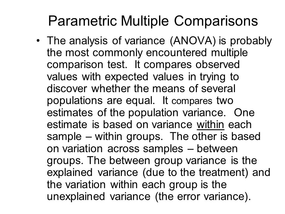 Parametric Multiple Comparisons