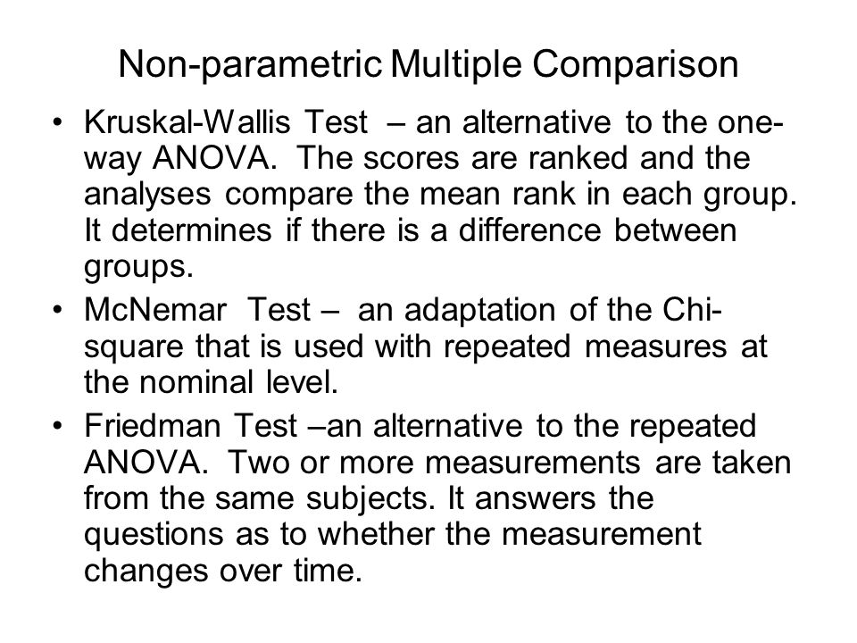 Non-parametric Multiple Comparison