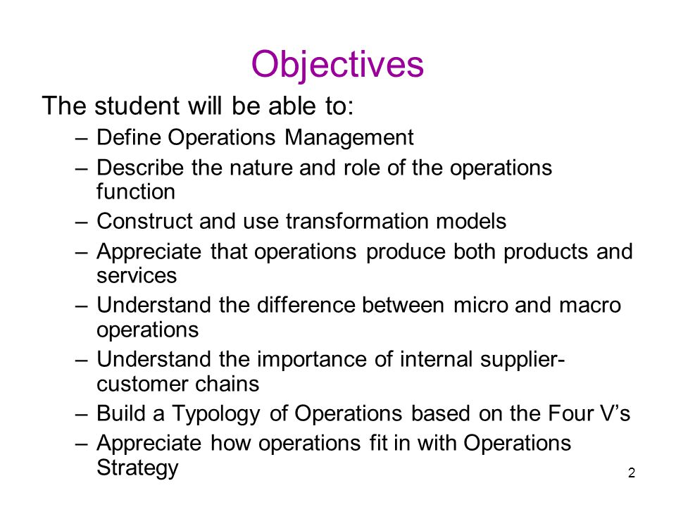 objectives of operations management pdf