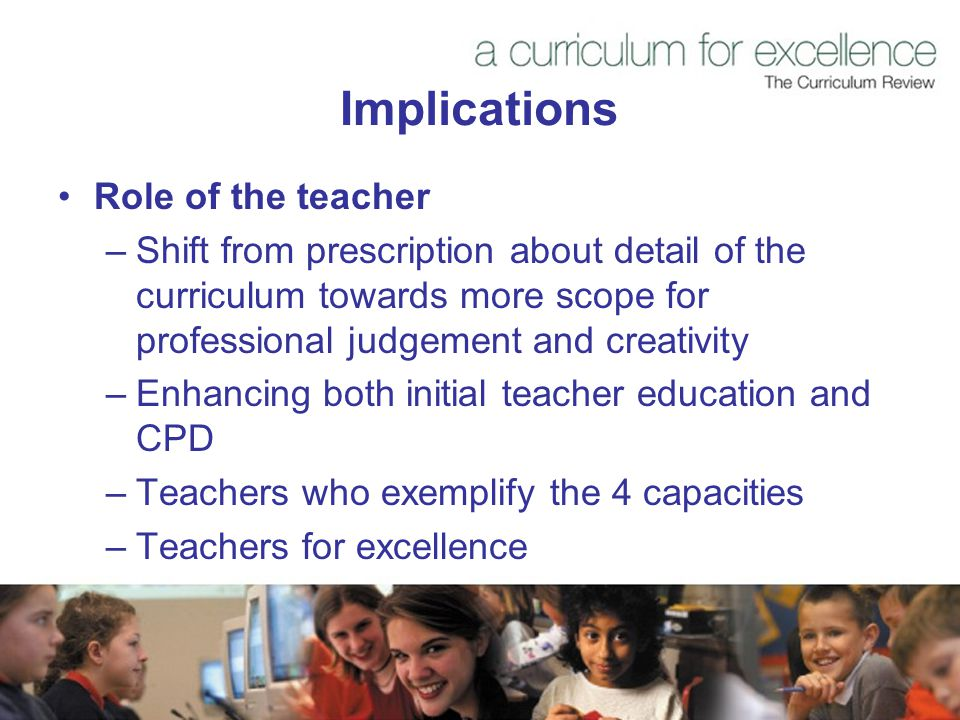 Implications Role of the teacher