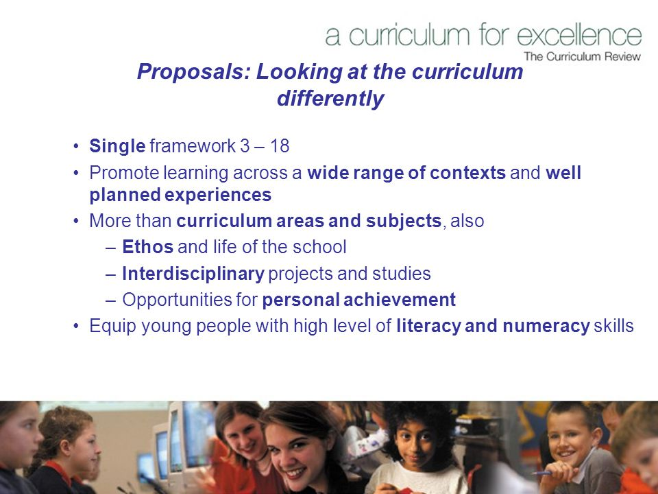 Proposals: Looking at the curriculum differently