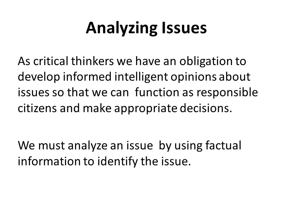 Analyzing Issues