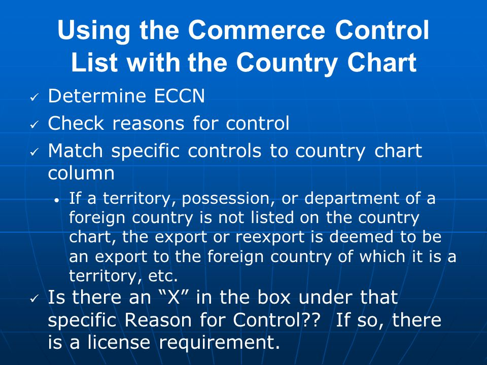 Using The Commerce Control List With Country Chart