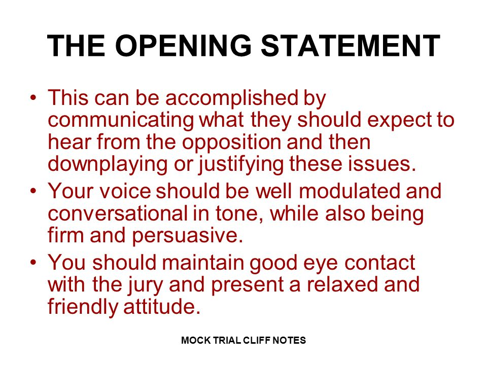 Law 1 Mock Trial Cliff Notes Mock Trial Cliff Notes Ppt Video
