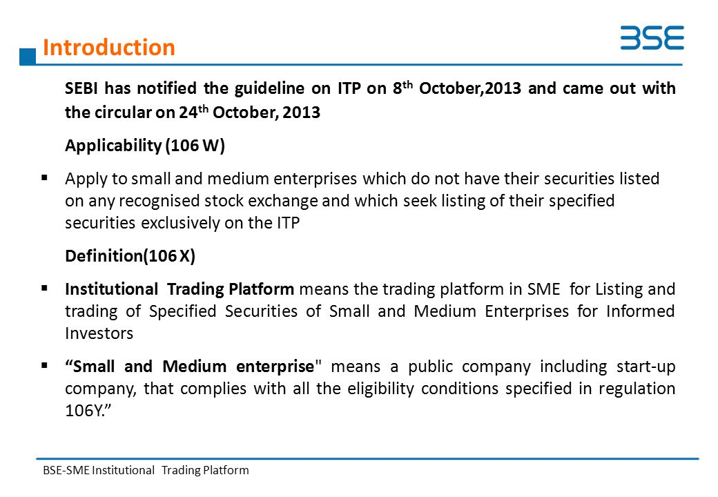 BSE SME Presents – SME and ITP - ppt video online download