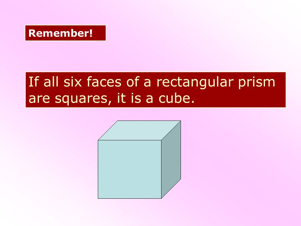 If all six faces of a rectangular prism are squares, it is a cube.