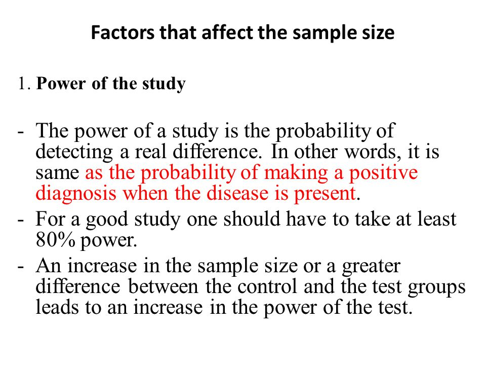 Factors that affect the sample size