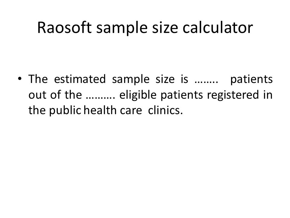 Raosoft sample size calculator