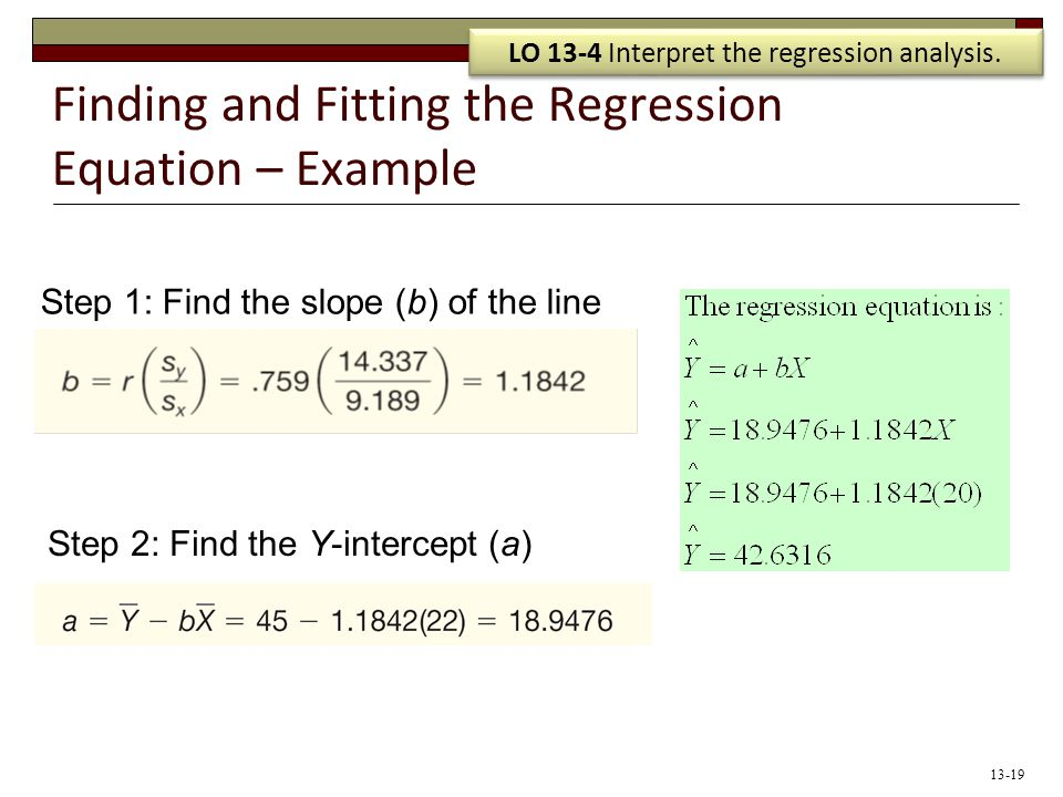 Finding and Fitting the Regression Equation – Example