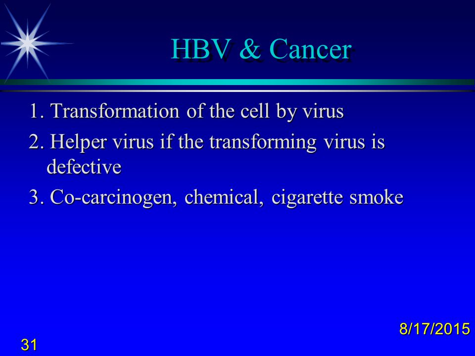 HBV & Cancer 1. Transformation of the cell by virus