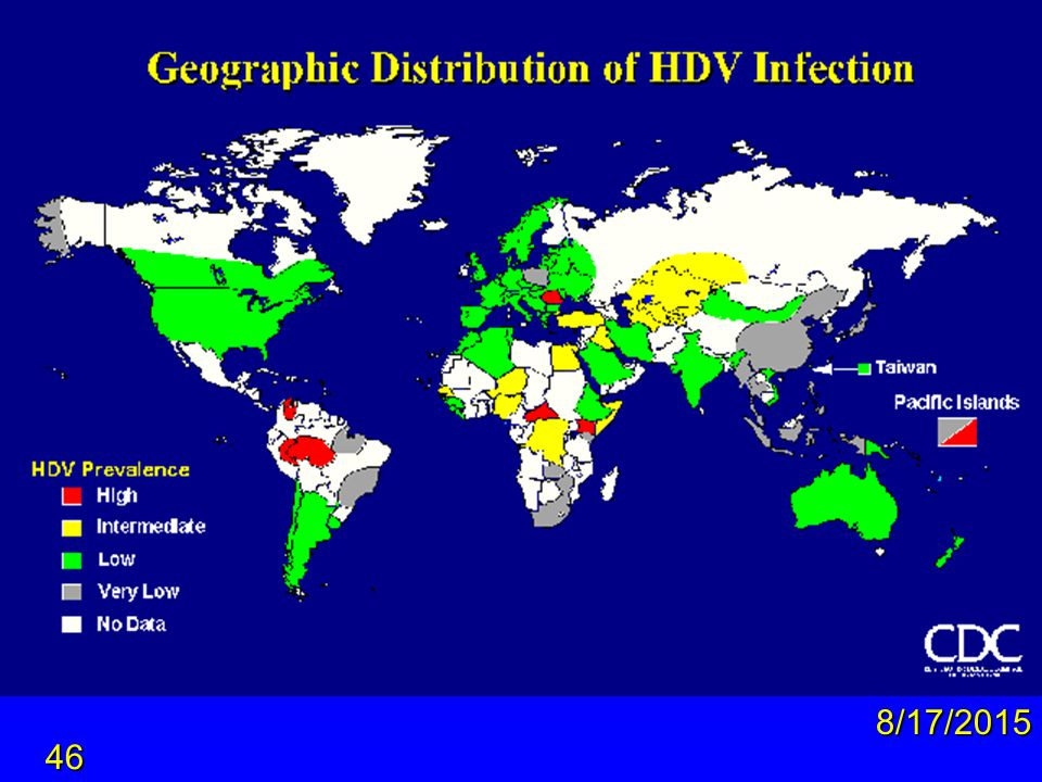 Geographic distribution of HDV