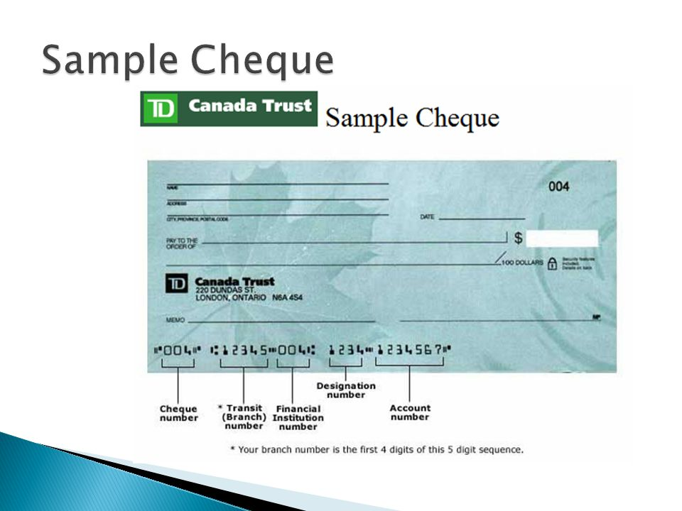 Post dated cheques td canada trust