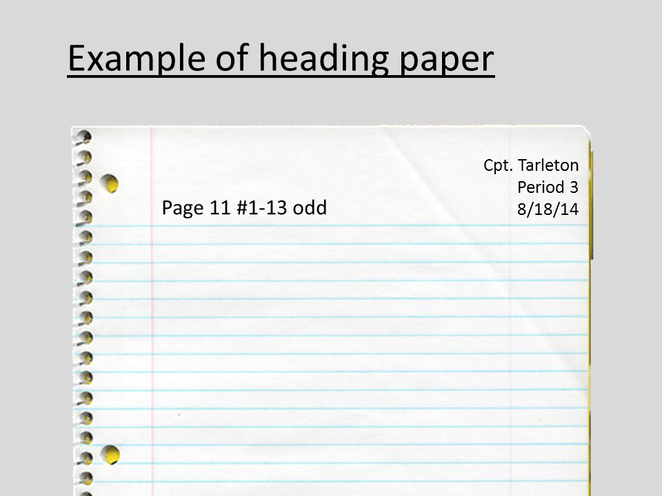 Example of heading paper