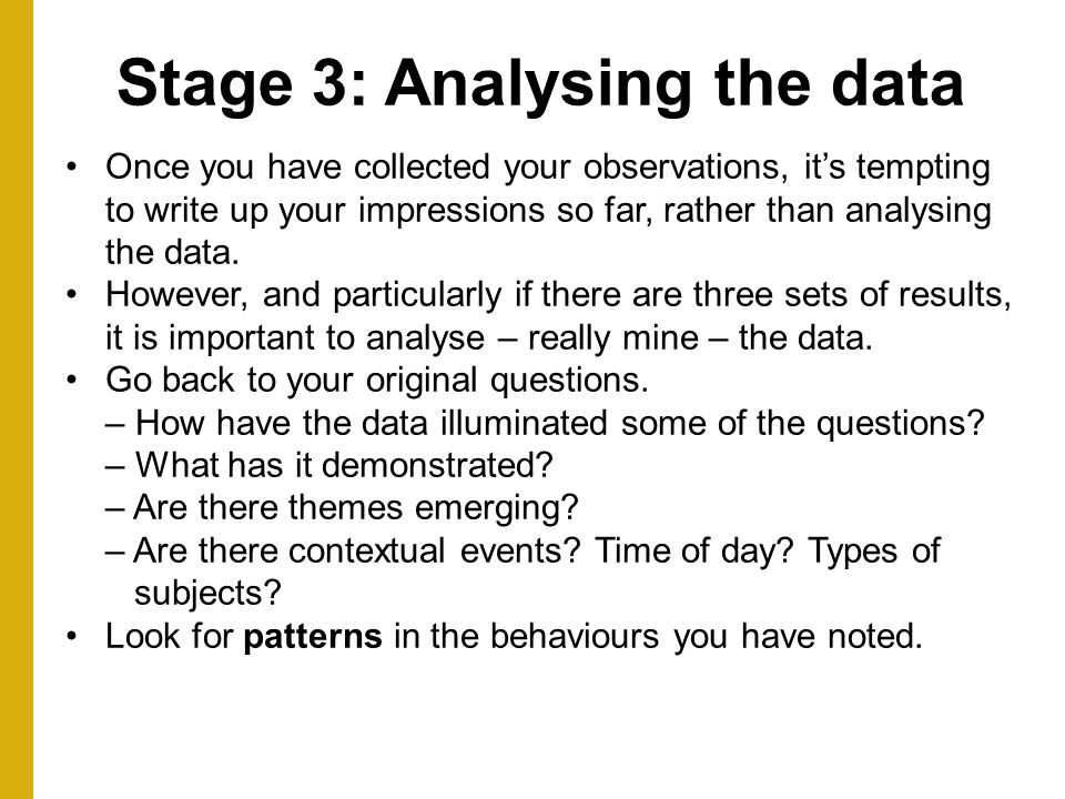 Stage 3: Analysing the data