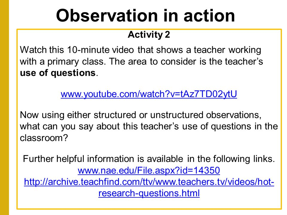 Observation in action Activity 2