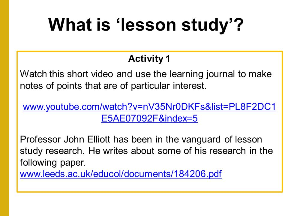 What is 'lesson study' Activity 1