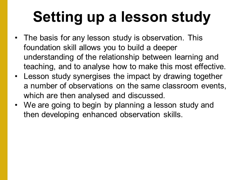 Setting up a lesson study