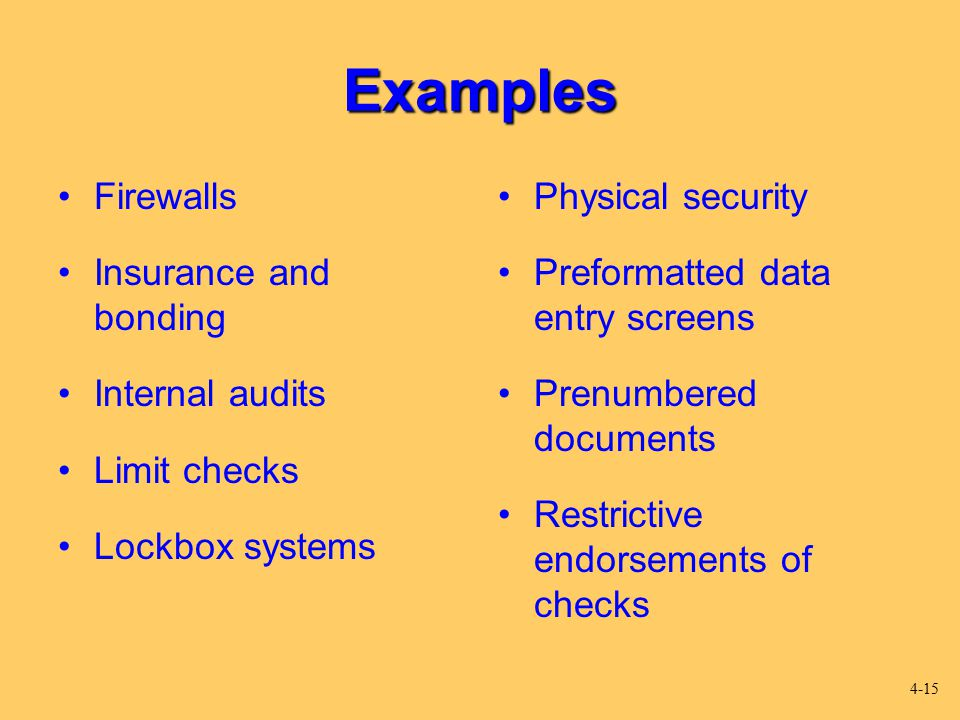 Examples Firewalls Insurance and bonding Internal audits Limit checks