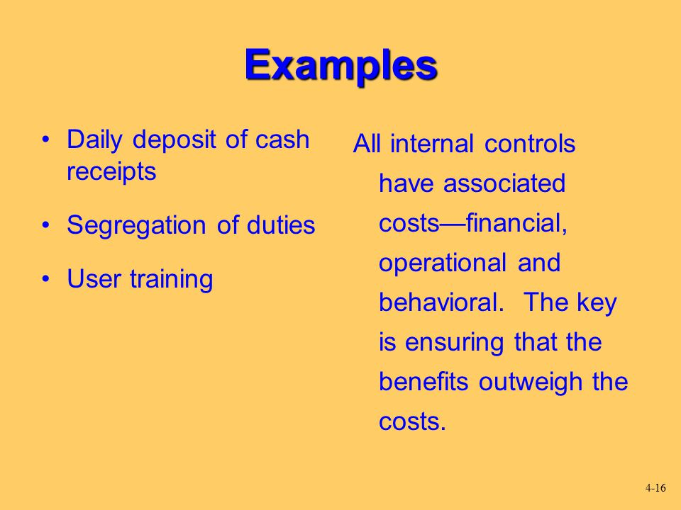 Examples Daily deposit of cash receipts Segregation of duties