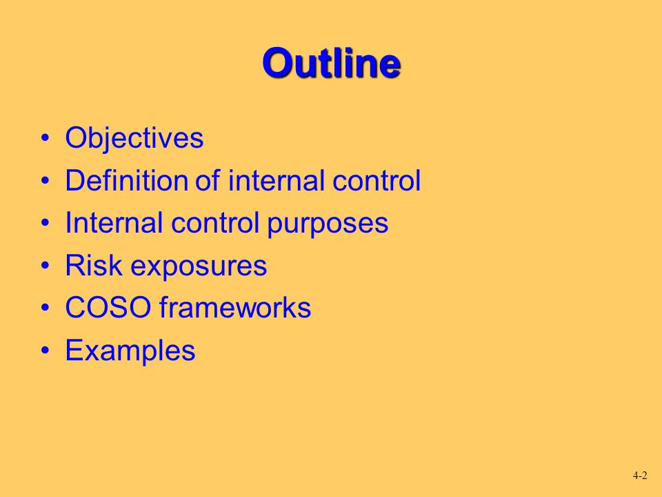 Outline Objectives Definition of internal control