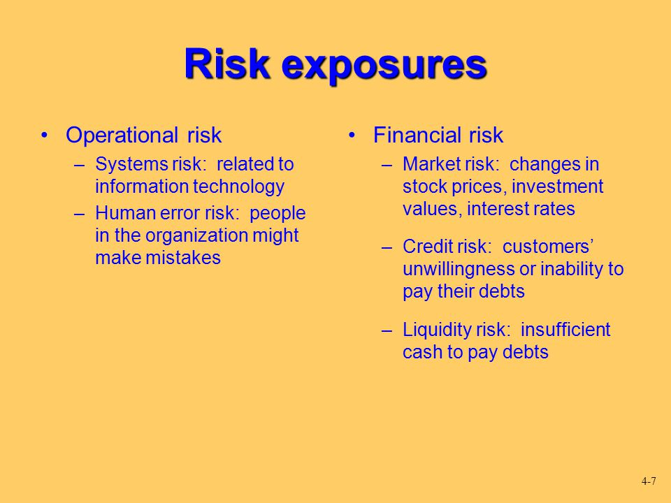 Risk exposures Operational risk Financial risk