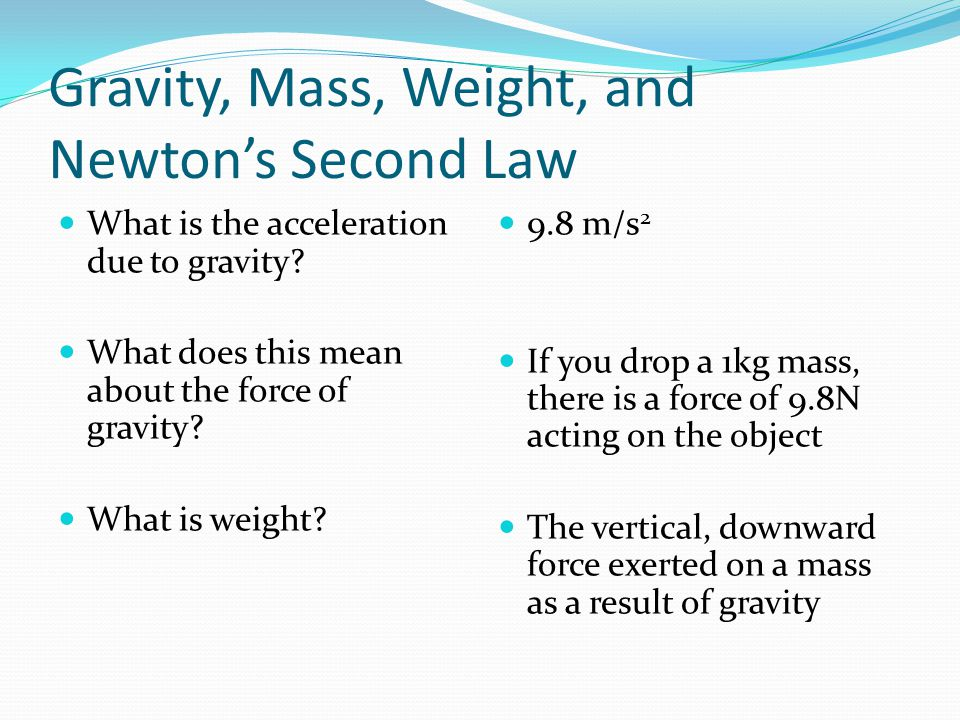 Physics Talk 23 Newton's Second Law Ppt Video Online Download. Gravity Mass Weight And Newton's Second Law. Worksheet. Worksheet Newton S Second Law Chapter 6 Newton S Second Law At Clickcart.co