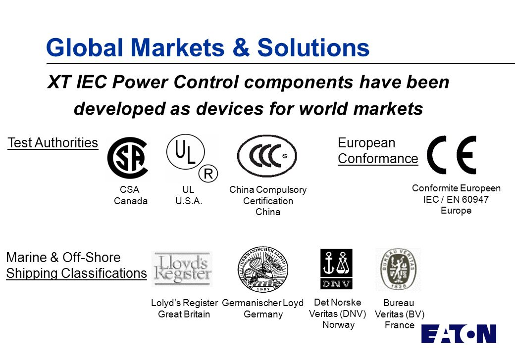 Global overview CCC RoHS / Weee UL Type E/F – Group UL 508A - ppt