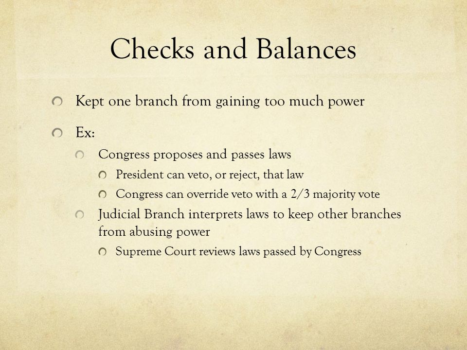 Checks and Balances Kept one branch from gaining too much power Ex:
