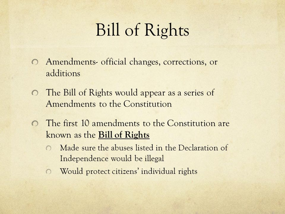 Bill of Rights Amendments- official changes, corrections, or additions