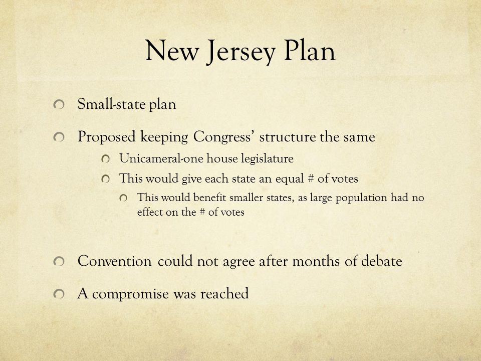 New Jersey Plan Small-state plan