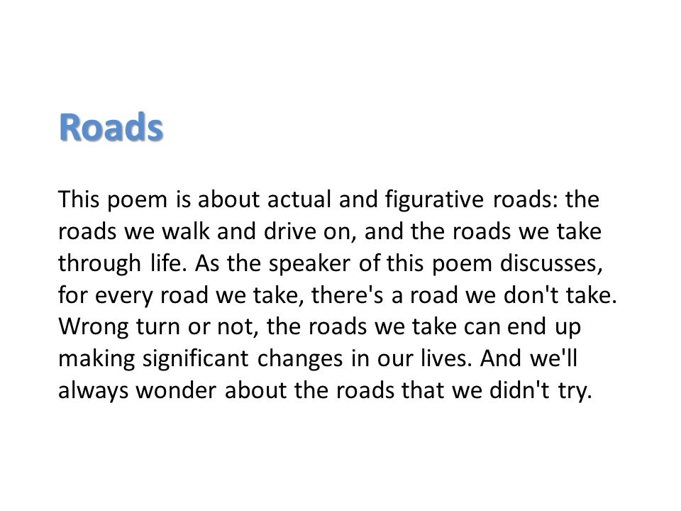 describe the setting of the poem the road not taken