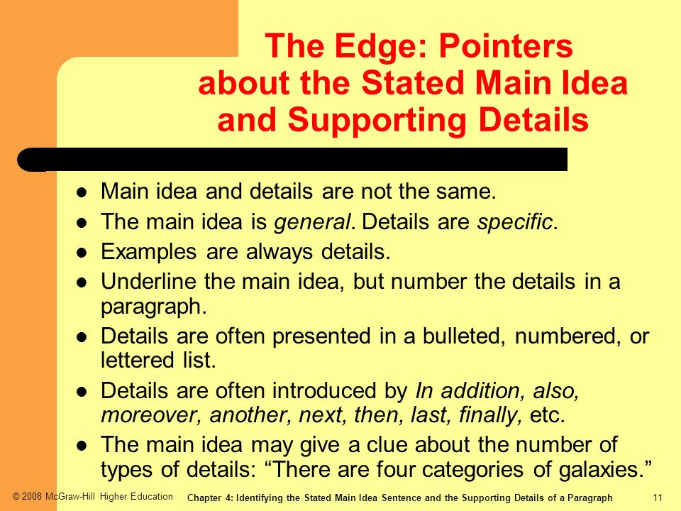 The Edge: Pointers about the Stated Main Idea and Supporting Details